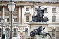 England, London, Somerset House, Courtyard, Statue.