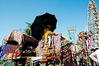 Decorated camel cart in Pushkar Camel Fair, Pushkar, Ajmer, Rajasthan, India