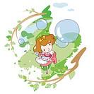 girl watching bubbles