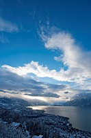 Switzerland, Europe, Vevey, Lac Léman, Lake Geneva, Leman, lake, Vaud, VD, winter, scenery, landscape, cloud, mountain, mountains, town, city, clouds,...