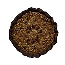 Overhead photo of Chocolate Pecan Pie on white background.