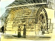 Aberdeen Water-Wheel at the Granholm Tweed Mills 1885 UK