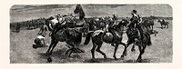 SOUTH AFRICA: A WRESTLING MATCH ON HORSEBACK BETWEEN THE DRAGOON GUARDS AND THE ROYAL ARTILLERY IN THE TRANSVAAL