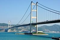 Tsing Ma Bridge viewed from Park Island, Ma Wan, Hong Kong