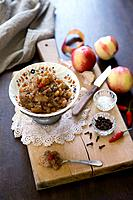 Nectarine chutney with cloves and chilli
