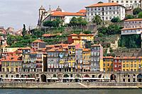 Porto (Portugal). Old town of Porto along the Douro River.