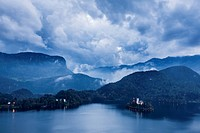 Clouds and mountains over Lake Bled, Slovenia