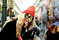 Historical and phantstic masks and costums in the tradition of the Venice Carneval pictured in Hamburg City at lake Alster on a yearly parade during C...