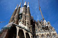 the passion facade of the Sagrada Familia Barcelona Catalonia Spain.