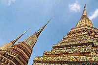Chedi Spires in the Temple Wat Pho in Bangkok.