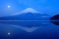 Mount Fuji and moon reflections on lake Yamanaka, Yamanashi Prefecture