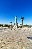 Saat Kulesi, clock tower, on Konak Square in Izmir, Turkey, Asia,