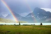 A double rainbow over Bow Lake, Crowfoot Mountain and the Crowfoot Glacier in Banff National Park, Alberta, Canada