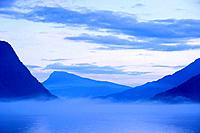 Sognefjord in early morning fog, Norway
