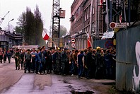 Gdansk, May 1988 Lenin Gdansk Shipyard sit-in strike, Shipyard workers walk across the Shipyard property to the gates, This strike led to Solidarnosc ...