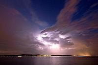 Thunderstorm and evening light on Lake Constance