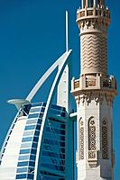 Dubai, Uaedetail Of Minaret Of Small Mosque In Front Of The Burj Al Arab Hotel, ©Ian Cumming/Axiom