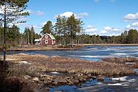 Unfreezing lake, near Fillipstaad, Sweden