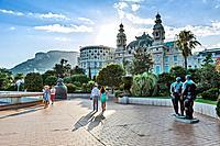 Principality of Monaco, Monte Carlo. Terrasses du Casino, bronze Adam and Eve by the famous sculptor Fernando Botero.