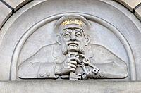 Rotterdam, Netherlands. Stadhuis / Town Hall (1912-20). Detail on Facade. Portier / Keyholder.