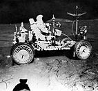 Davis Scott (b1932) waiting for James Irwin during extra-vehicular activity on the Apollo 15 mission, 1971.