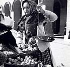 A girl selling apples, Zagreb, Croatia, Yugoslavia, 1939.