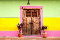 Typical door on a street of Granada, Nicaragua.