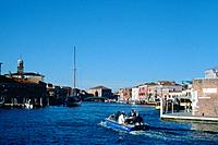 Grand Canal, Murano, Venice, Italy. Murano is an island in the Venetian Lagoon about a mile north of Venice. Like Venice itself, it has a Grand Canal ...
