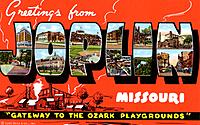 'Greetings from Joplin, Missouri, Gateway to the Ozark Playgrounds', postcard, 1942. Large letter postcard showing views of Joplin in the letters, wit...