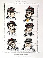 'Quelques Binettes d'Assieges', 1870-1871. Cartoon with caricatures of figures from the Prussian Siege of Paris in the Franco-Prussian War (1870-1871)...