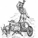 Thor, son of Woden (Odin), the second god in the ancient Scandinavian pantheon, riding in chariot drawn by goats and wielding his hammer, symbolising ...