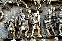 Roman soldiers taking part in decursio - ritual circling of funeral pyre, c180-196. Detail of a relief from the Antonine Column, Rome, erected c180-19...