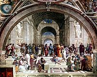 'School of Athens', c1510. Fresco showing Greek philosphers and scientists with Plato (428-348BC) and his pupil Aristotle (384-322BC) in the centre.