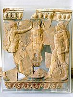 Terracotta plaque from the Temple of Apollo on the Palatine. It shows Apollo disputing possession of the Delphic tripod with Hercules. Country of Orig...