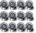 Zodiac signs rubber button set