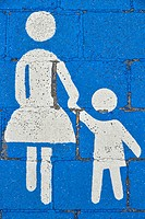 Pedestrian pictogram on a walkway