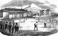 Lord's Cricket Ground, London, 1858. Both spectators and players wear top hats.