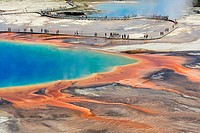 Aerial view of Grand prismatic spring, Yellowstone National Park, Wyoming, USA.