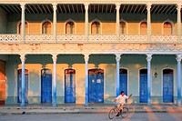 Colonial-style house at sunset in Remedios, Cuba.