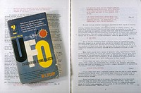 'THE CASE FOR THE UFO' (Jessup) The pocketbook edition and a spread from the Varo reprint, with Allende's notations concerning the 'Philadelphia Exper...