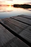 Close-up pier sunset