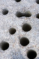 Holes in a rock