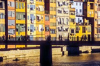 Colored houses in Onyar river,Girona,Catalonia, Spain.