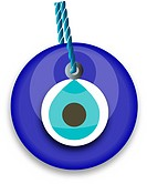 blue bead, worn to avert the evil eye