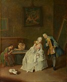 A Lady receiving a Cavalier, 1747-1755. Found in the collection of the National Gallery, London.