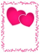 Vector card with pink hearts and empty space for greeting, weddi