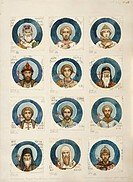 Medallions with Russian Saints (Study for frescos in the St Vladimir's Cathedral of Kiev), 1884-1889. Found in the collection of the State Tretyakov G...
