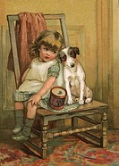 A little girl and her dog lament over a broken drum.