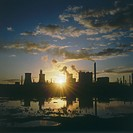 Sunset over an oil refinery near Swansea, South Wales.
