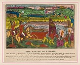 BATTLE OF LEIPZIG - a delightful popular print of the decisive battle which ended Napoleon's attempt to subdue Germany and forced him to retire across...